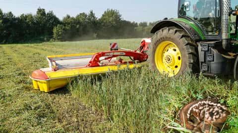 John Deere Traktor beim Grasmähen