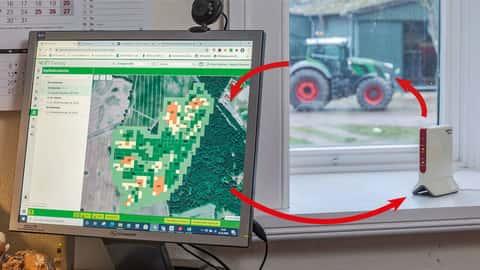 Drahtloser Datenaustausch zwischen Terminals von Traktoren und dem Büro