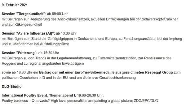 Fachprogramm Geflügel EuroTier 2021
